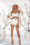 High Waisted Lace Shorts - White