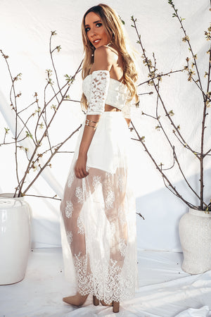 Lace Maxi Skirt - White
