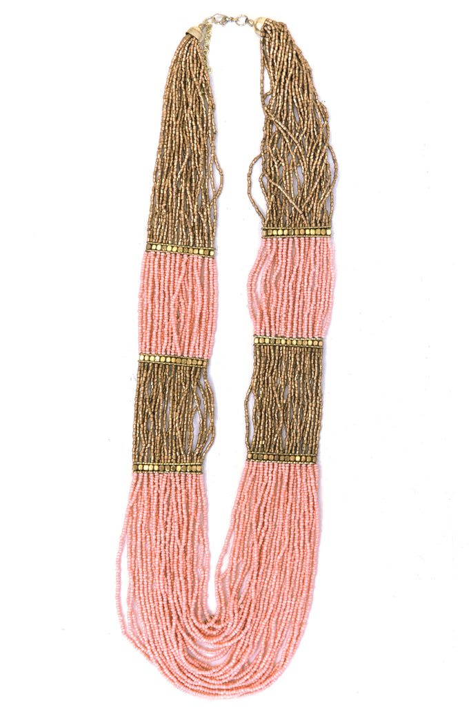 Shea Beaded Necklace - Peach