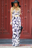 RETRO PALM PRINT HALTER MAXI DRESS