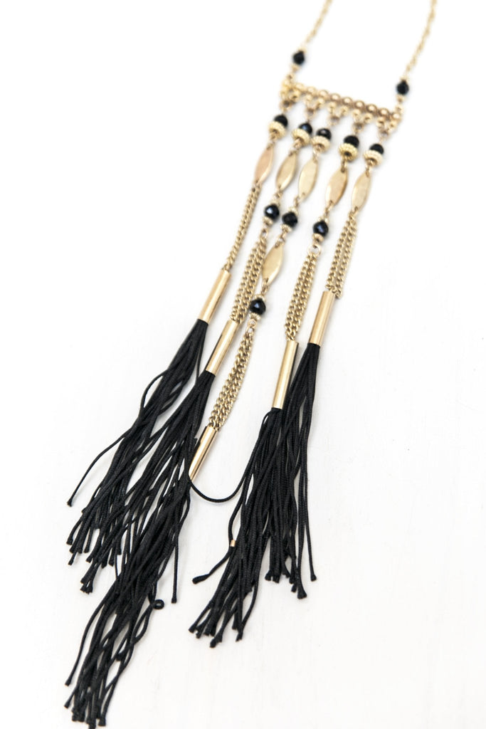 Lynna Metal Pendant Fringe Necklace