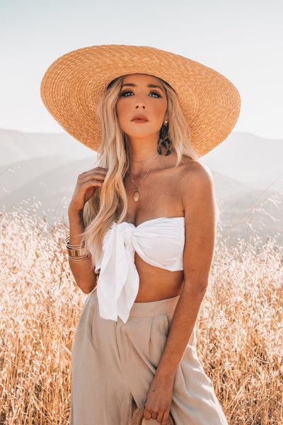 Crop Top with Front Tie - White