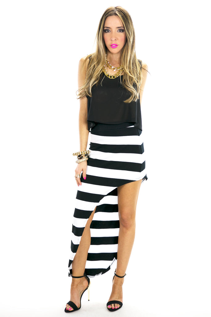 SIDE CUT HIGH-LOW STRIPE PENCIL SKIRT