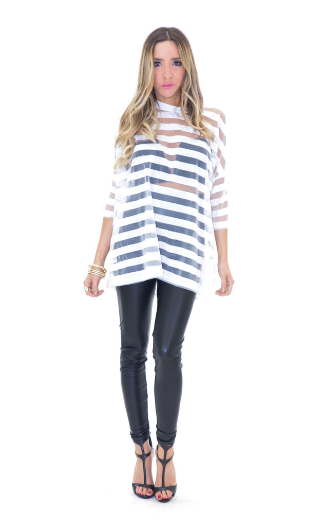 BLAINE SHEER STRIPED T-SHIRT - WHITE