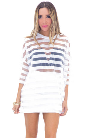 BLAINE SHEER STRIPED T-SHIRT - WHITE - Haute & Rebellious