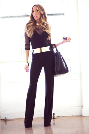 MESH DETAIL JUMPSUIT - Haute & Rebellious