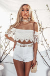 Lena Crochet Off Shoulder Tube Top /// Only 1-S Left ///
