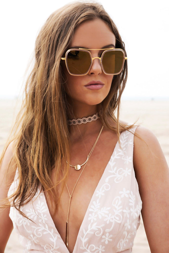 Harpers 70's Sunglasses - Blush/Gold