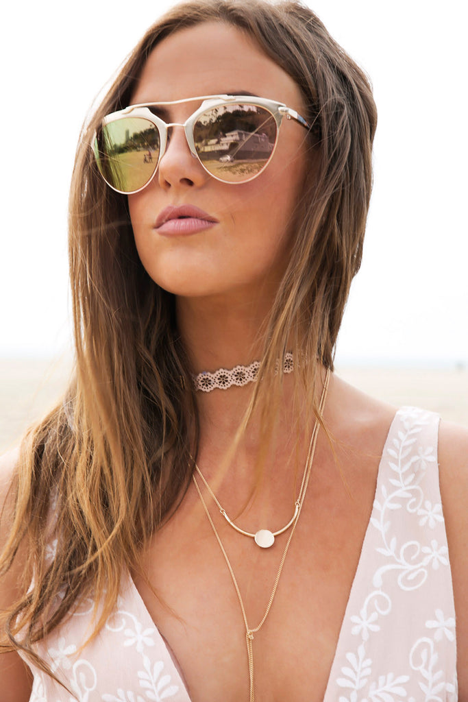 Skylar Reflective Sunglasses - Blush/Gold