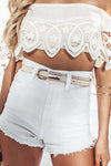 High-Waisted Denim Short - White