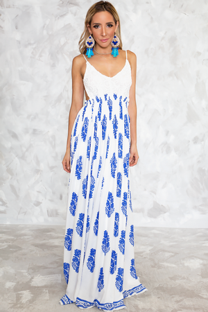 Camilla Print Open Back Maxi Dress - White/Blue - Haute & Rebellious