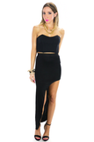 SIDE CUT HIGH-LOW PENCIL SKIRT