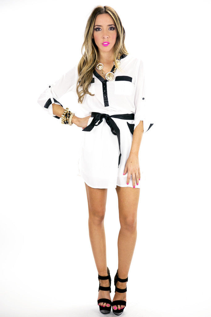 BECK CONTRAST TRIM CHIFFON DRESS