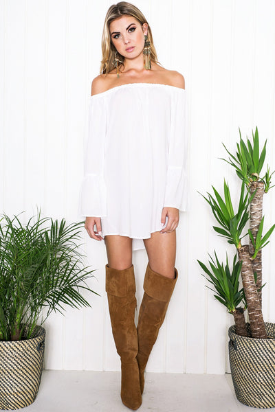 Nadya Bell Sleeve Dress - White - Haute & Rebellious
