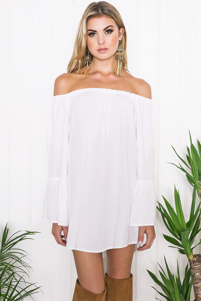 Nadya Bell Sleeve Dress - White