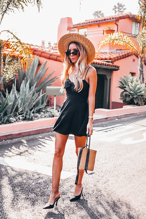 Linen Mini Dress - Black