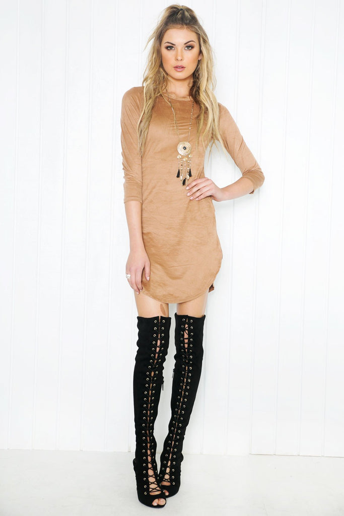Adia Suede Shift Dress - Taupe