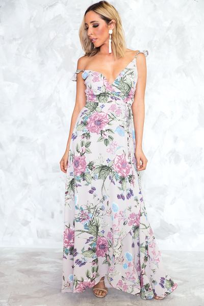 All That She Wants Floral Wrap Dress