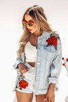 Just Us Rose Patch Denim Jacket