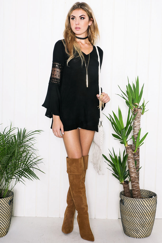 Zada Bell Sleeve Top - Black