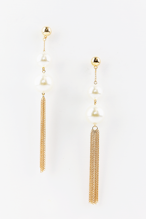 Need You Pearl & Metal Tassel Earrings - Haute & Rebellious