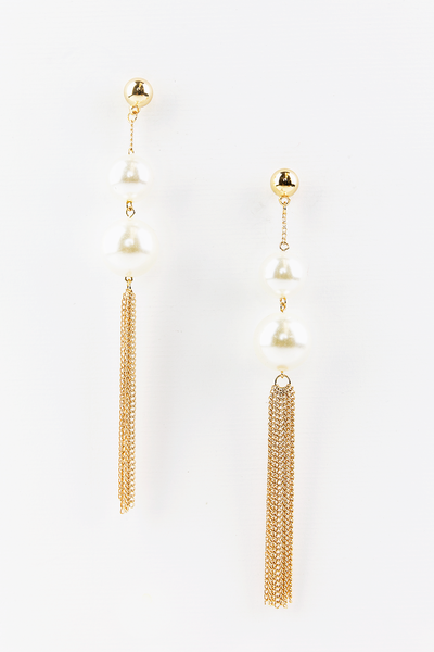 Need You Pearl & Metal Tassel Earrings