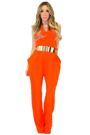 BIG POCKET JUMPSUIT - Orange - Haute & Rebellious