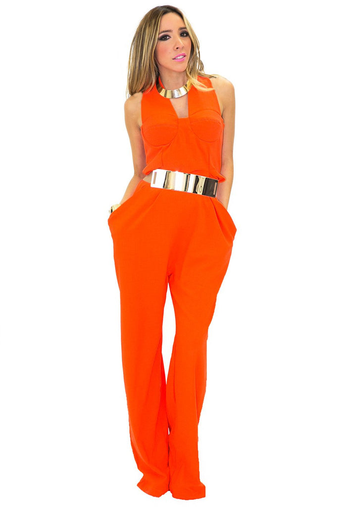 BIG POCKET JUMPSUIT - Orange