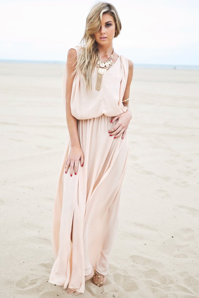 Molin Front Slits Chiffon Maxi Dress - Haute & Rebellious