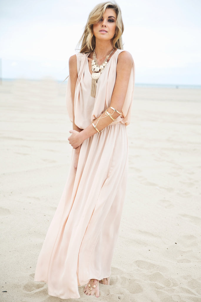 Molin Front Slits Chiffon Maxi Dress