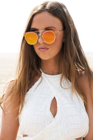 I Told You So Reflective Sunglasses - Yellow - Haute & Rebellious