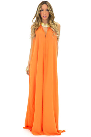 GRECIAN STYLE FLOWY MAXI - Orange - Haute & Rebellious