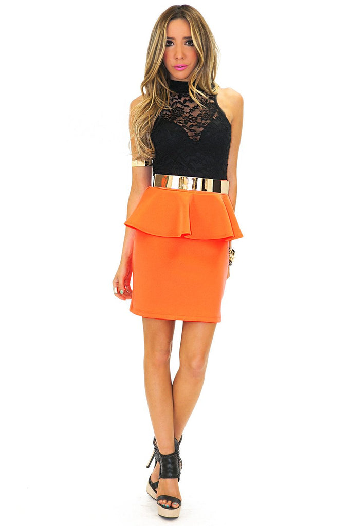 LACE & PEPLUM NEON DRESS