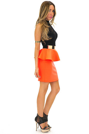 LACE & PEPLUM NEON DRESS - Haute & Rebellious