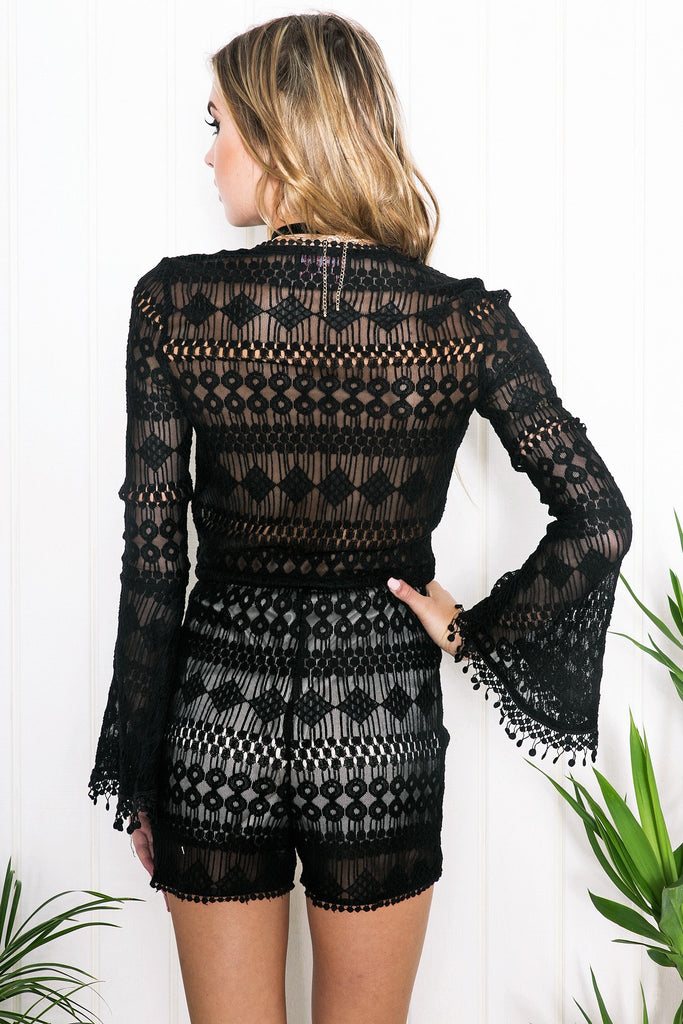 Lilah Lace Bell Sleeve Romper