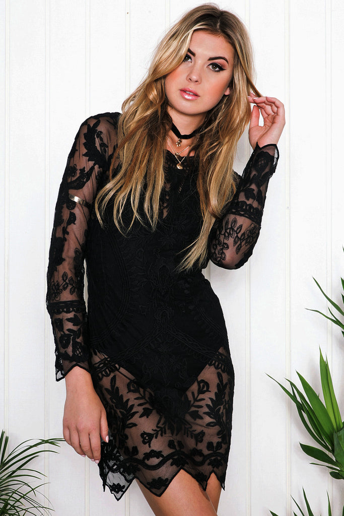 Sadie Long Sleeve Dress - Black