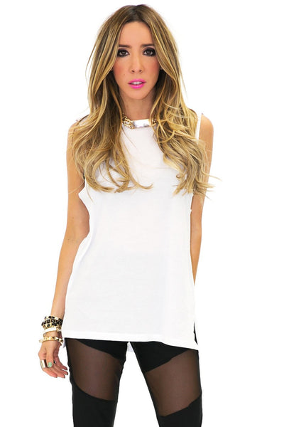 LONG MUSCLE TANK - White - Haute & Rebellious