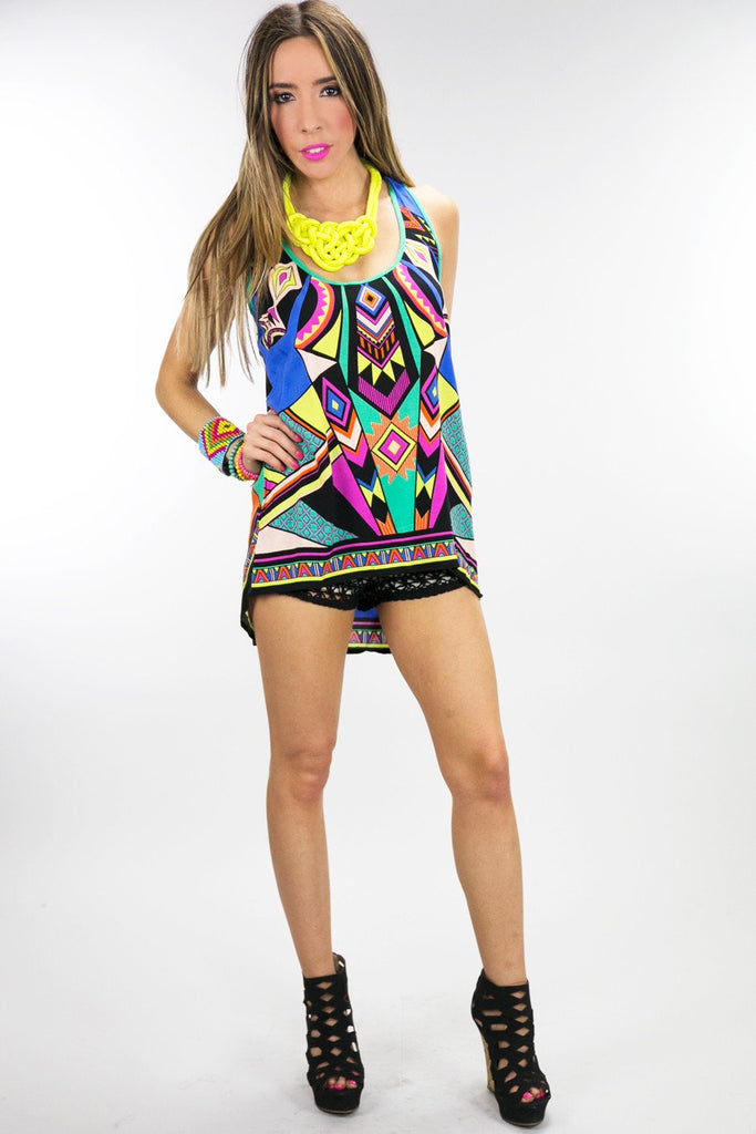 HIGH LOW TRIBAL TOP