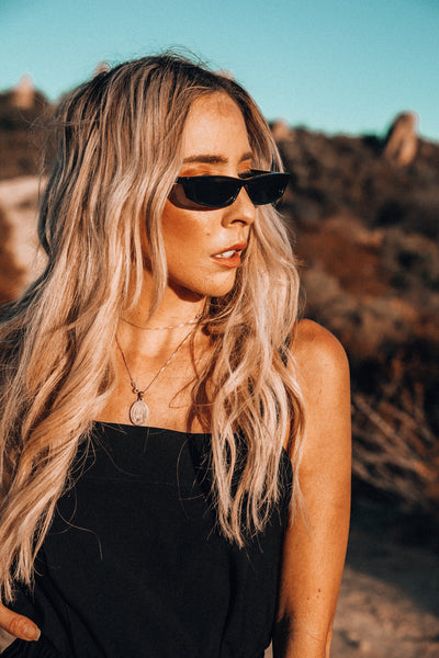 Rectangle Thin Sunglasses - Black