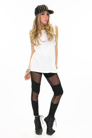 MESH DETAIL LEGGINGS - Black - Haute & Rebellious