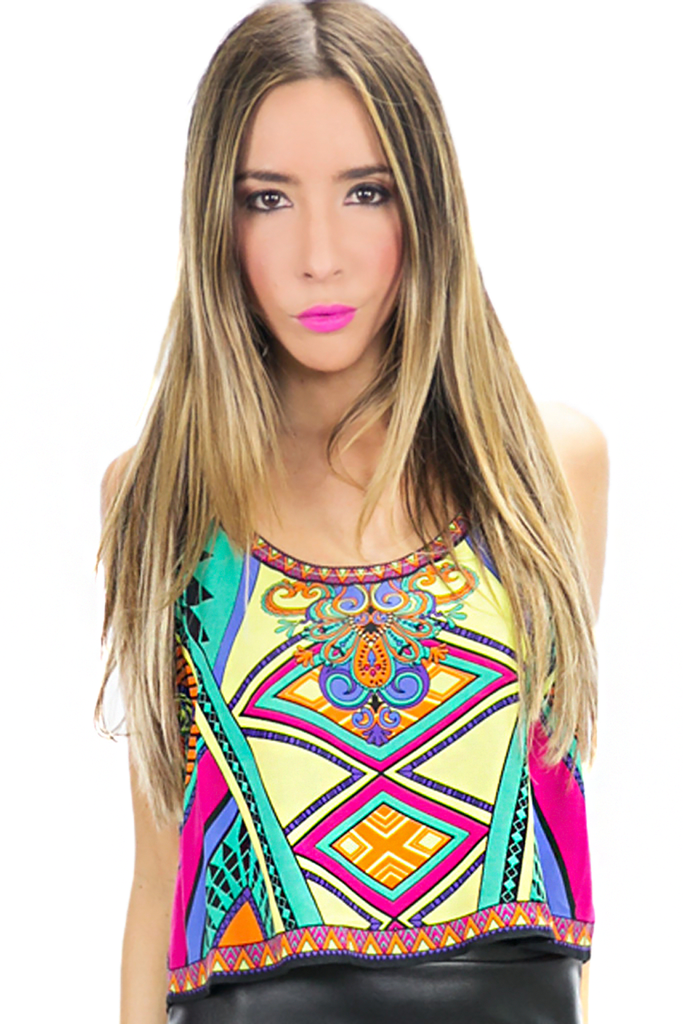 NAVIA TRIBAL COLORED CROP TOP