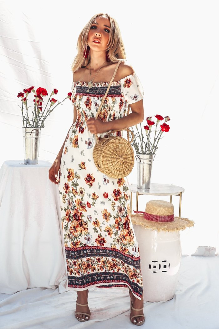 Floral Off-Shoulder Maxi Dress /// Only 1-L Left ///