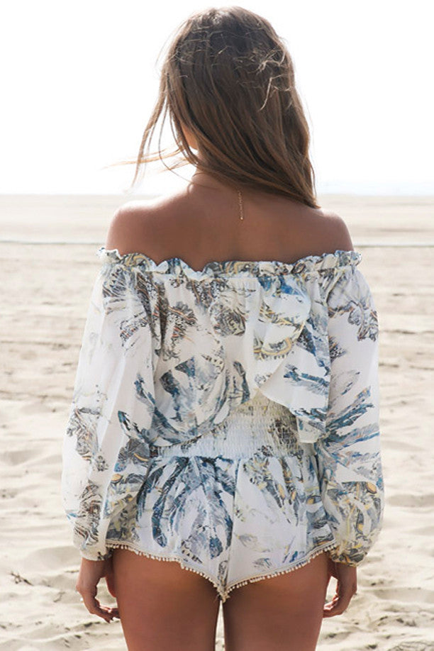 Paradise Print Off-Shoulder Top