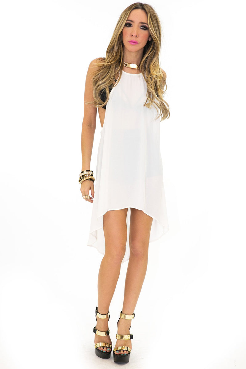 HIGH LOW SLIT TANK - White - Haute & Rebellious