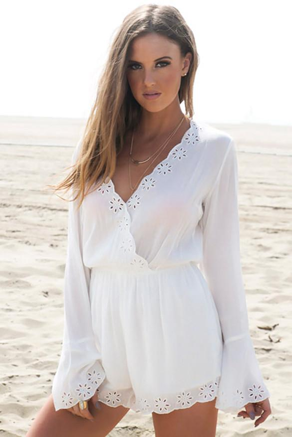 Ava Embroidery Trim Plunging Romper