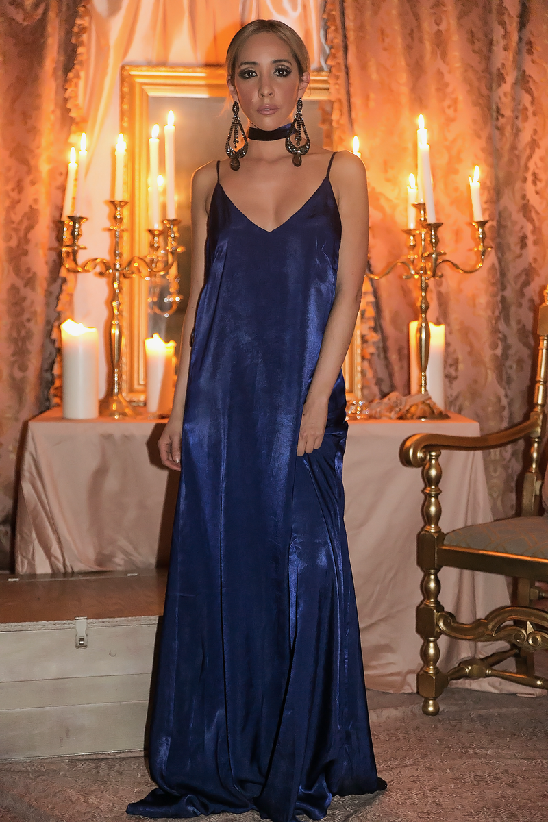 Soft Illusion Satin Slip Maxi Dress - Deep Blue - Haute & Rebellious