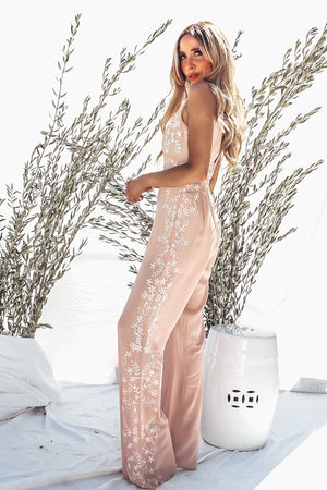 Sleeveless Embroidery Jumpsuit