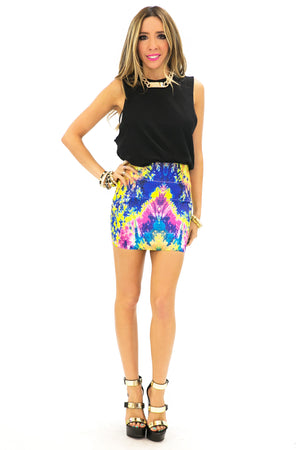 WATERCOLOR BANDED SKIRT - Haute & Rebellious