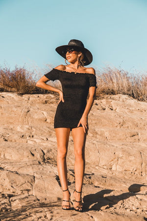 Off-Shoulder Smocked Mini Dress