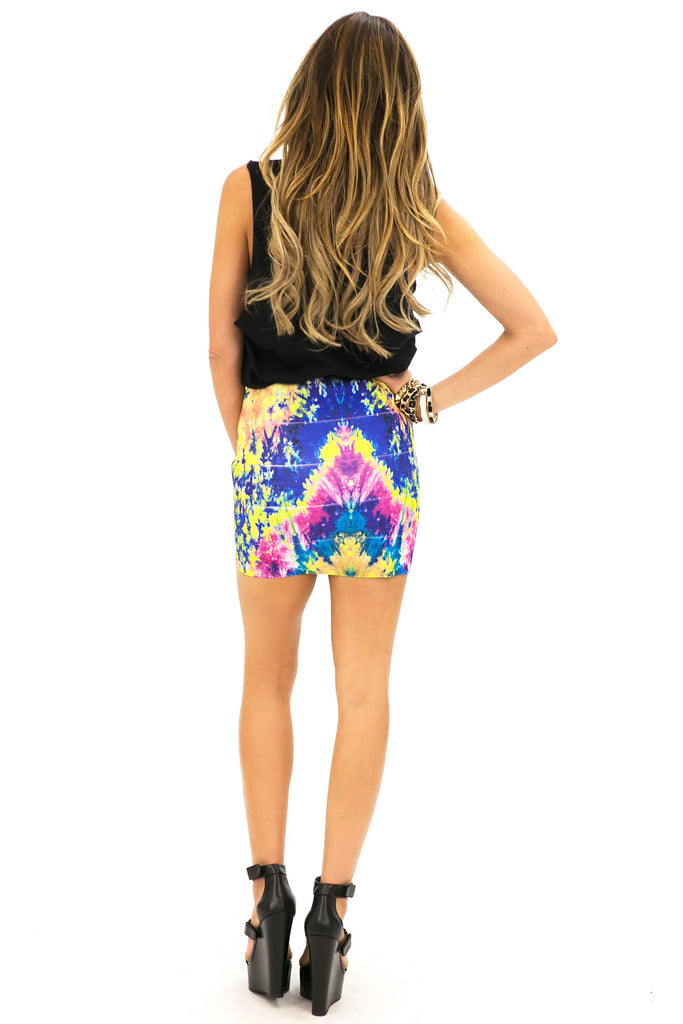 WATERCOLOR BANDED SKIRT